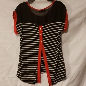 Annabelle Tops - Black, White & Red Blouse
